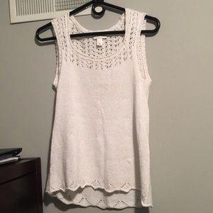 Loft White Crochet Tank Top. Size: M